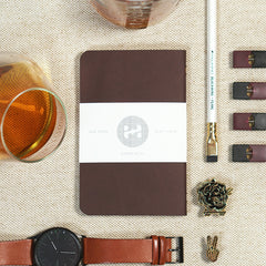 brown leather pocket notebook