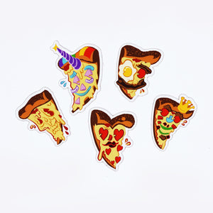 five pizza character illustrated on die cut stickers