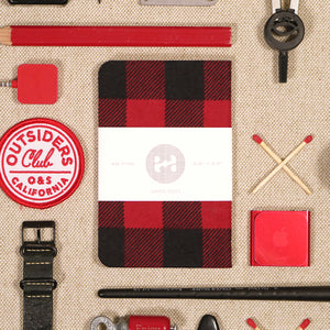plaid red black pocket notebook