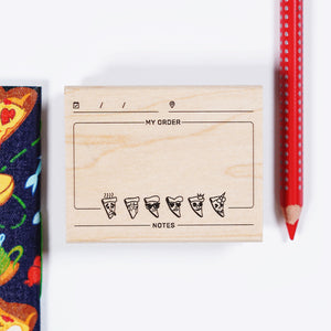 pizza journal rubber stamp