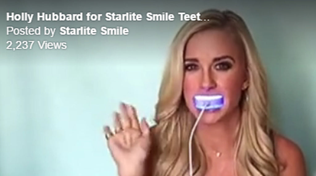 Holly Hubbard demonstrates the Starlite Smile Teeth Whitening Light
