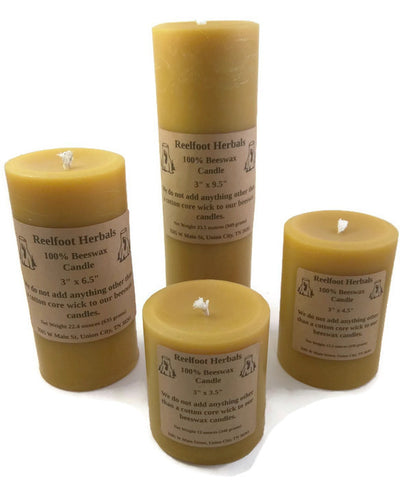 "3"" 100% Beeswax Candle - Reelfoot Herbals"