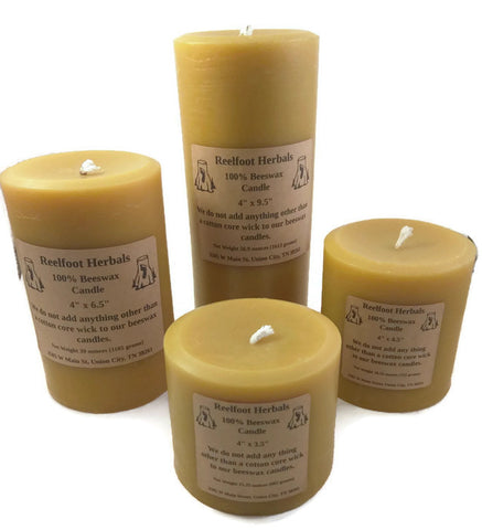 "4"" 100% Beeswax Candle - Reelfoot Herbals"