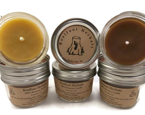 12 oz 100% Beeswax Container Candle - Reelfoot Herbals