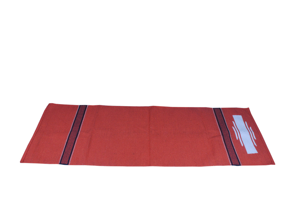 •	ECO FRIENDLY HAND LOOM COTTON BRIC RED  YOGA MAT.