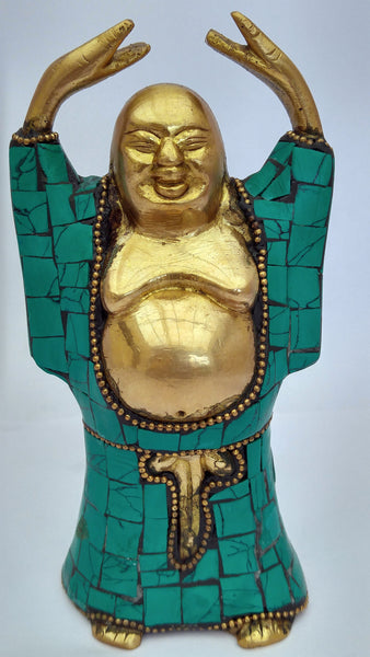 Laughing Buddha in brass