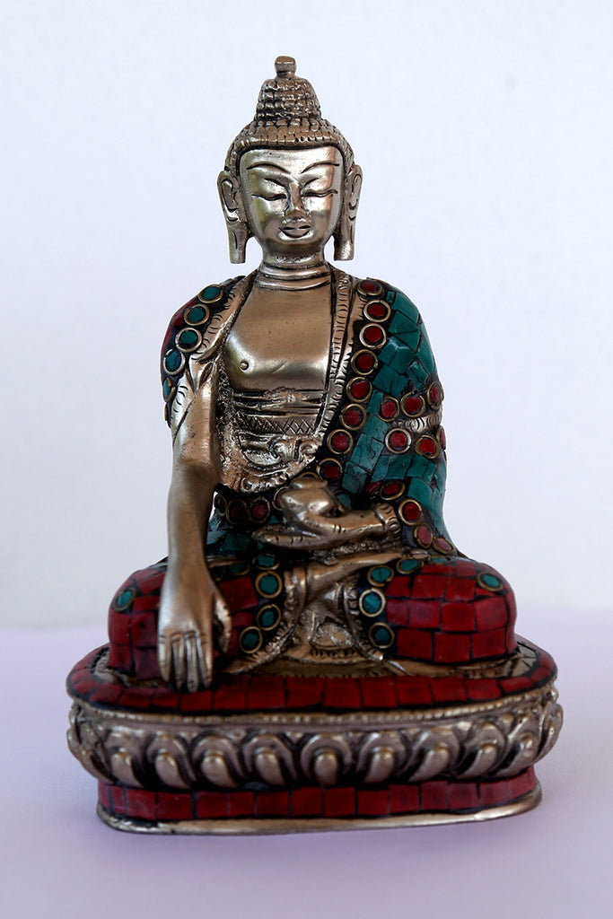 Buddha Meditating Brass in silver finish