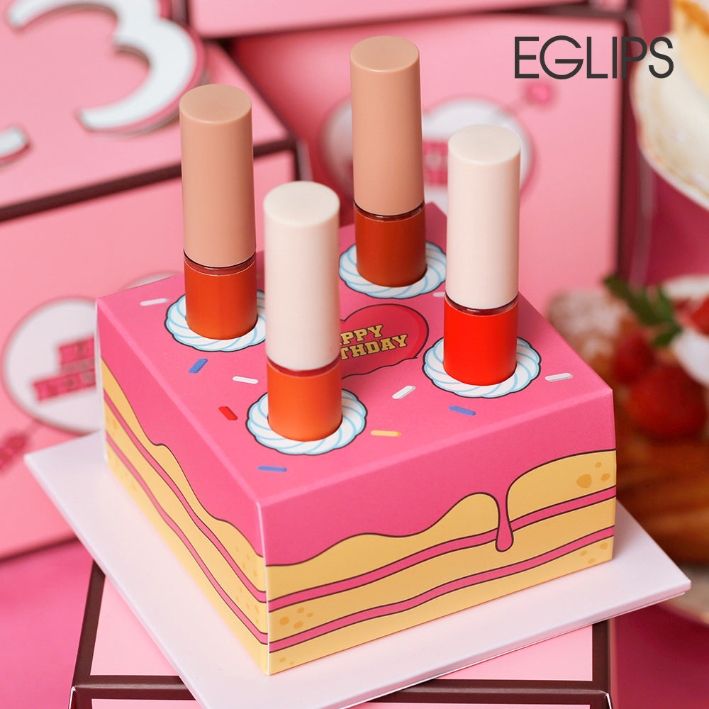 Eglips - Happy Velthday Cake (Limited Edition) [Best-Selling Velvet Fit Tint shades x 4]