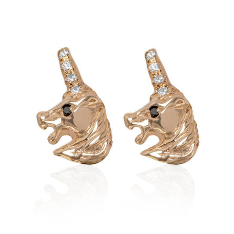Black Diamond Unicorn Earrings - Bianca Pratt Jewelry