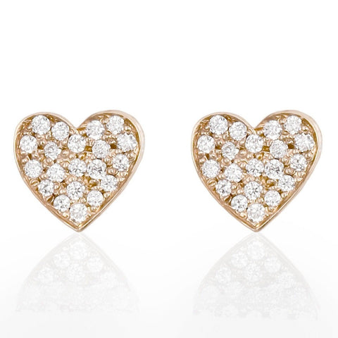Diamond Pavé Heart Earrings - Bianca Pratt Jewelry