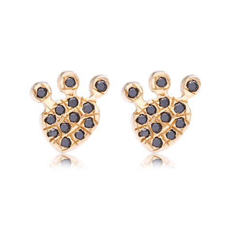 Black Diamond Bear Paw Stud - Bianca Pratt Jewelry