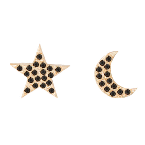 Black Diamond Pavé Moon and Star Studs - Bianca Pratt Jewelry