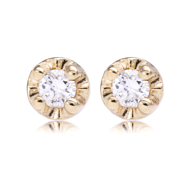 Circle Set Diamond Studs - Bianca Pratt Jewelry