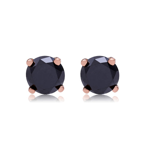 Large Rose Gold Black Diamond Studs - Bianca Pratt Jewelry