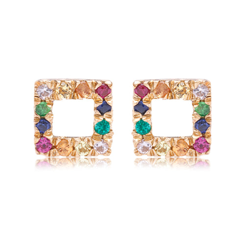 Rainbow Open Square Stud - Bianca Pratt Jewelry