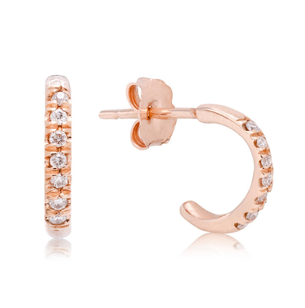 Rose Gold Diamond Huggies - Bianca Pratt Jewelry