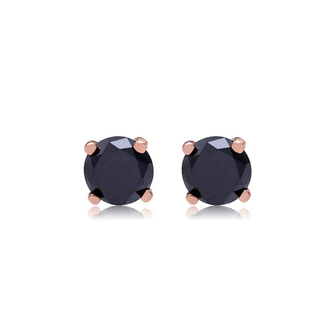 Small Rose Gold Black Diamond Studs - Bianca Pratt Jewelry