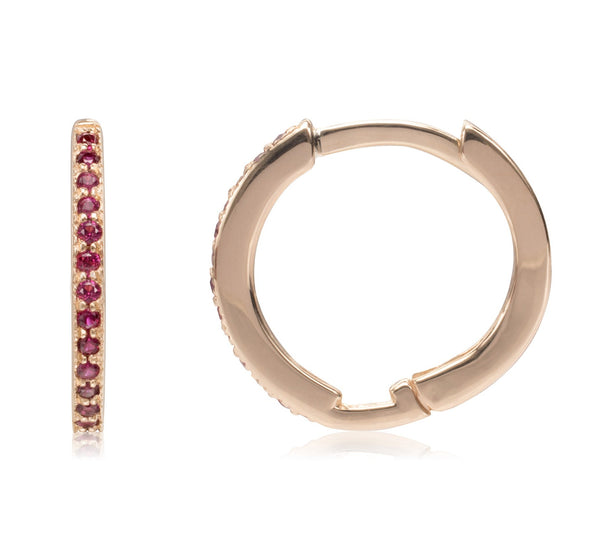 Thin Ruby Huggies - Bianca Pratt Jewelry