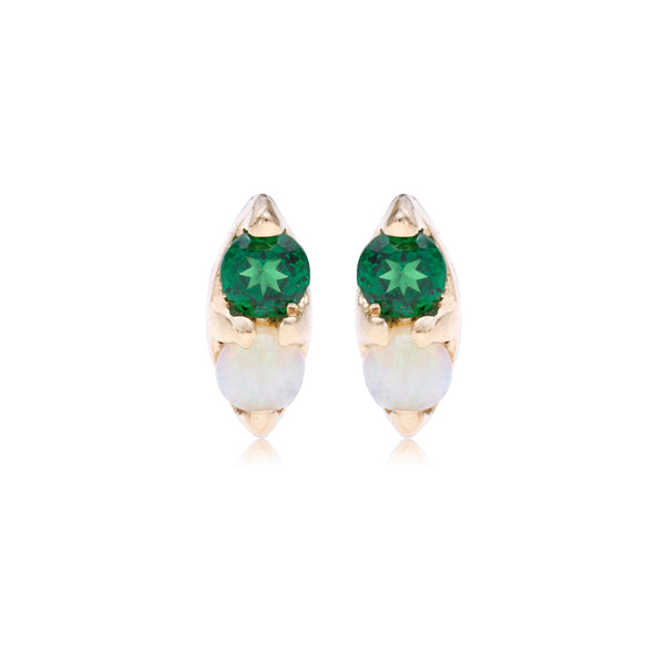 Opal and Tsavorite Marquis Studs