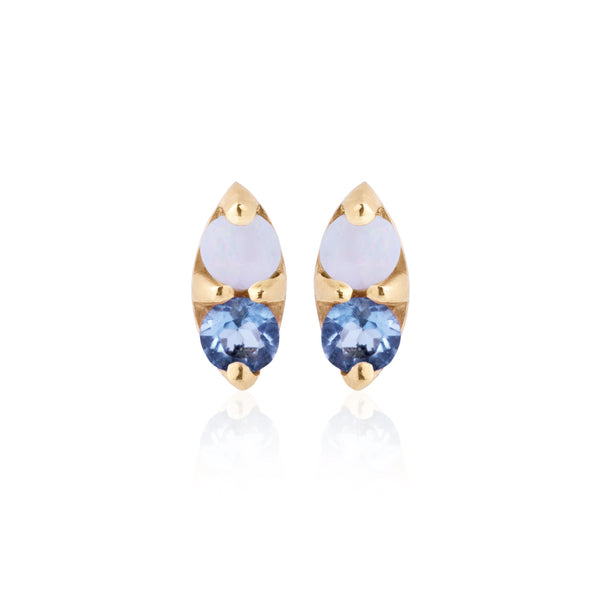 Opal and Blue Sapphire Earrings - Bianca Pratt Jewelry