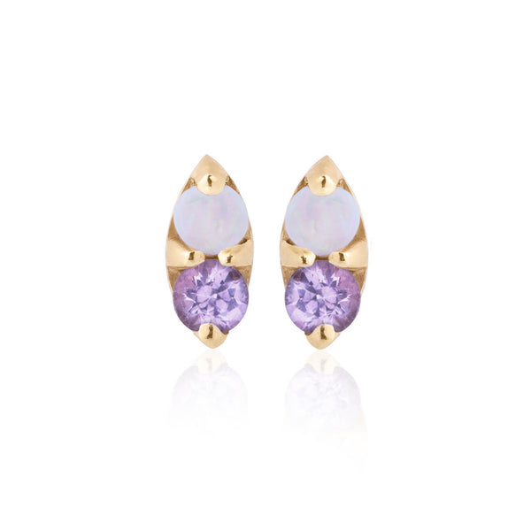 Opal and Purple Sapphire Earrings