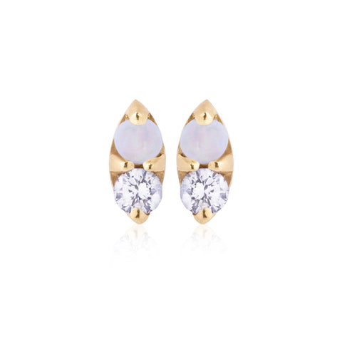 Opal and White Sapphire Earrings