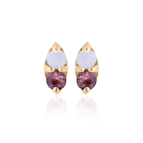 Opal and Plum Marquis Sapphire Earrings