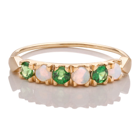 Tsavorite and Opal Stack Ring - Bianca Pratt Jewelry