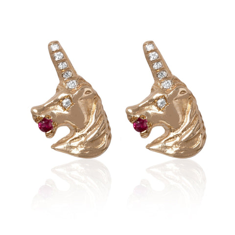 Ruby Unicorn Earrings - Bianca Pratt Jewelry