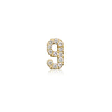 Single Small Number Earring with Diamonds