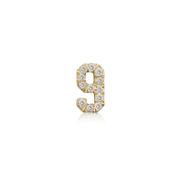 Diamond Pavé Number Stud - Bianca Pratt Jewelry