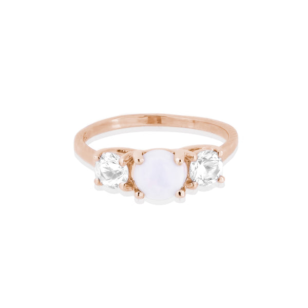 Trio Opal and White Sapphire Rose Gold Ring - Bianca Pratt Jewelry