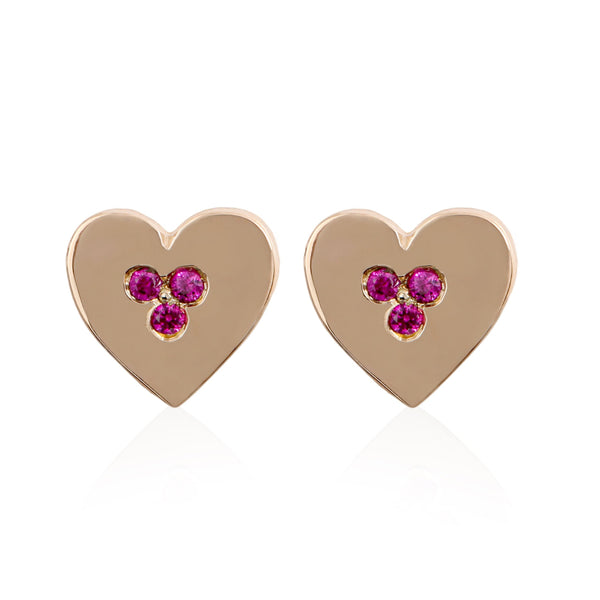 Trio Ruby Heart Earrings - Bianca Pratt Jewelry