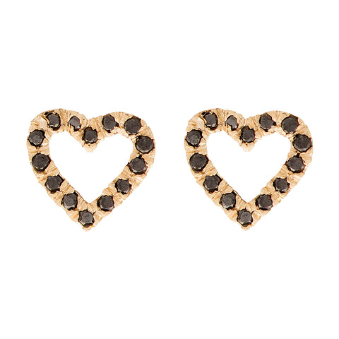Black Diamond, Open Heart Studs - Bianca Pratt Jewelry