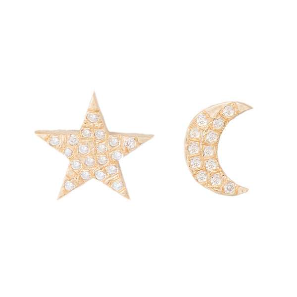 Diamond Pavé Moon and Star Studs - Bianca Pratt Jewelry