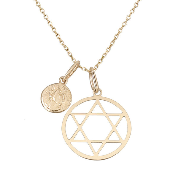 Star of David/Small Coin Necklace