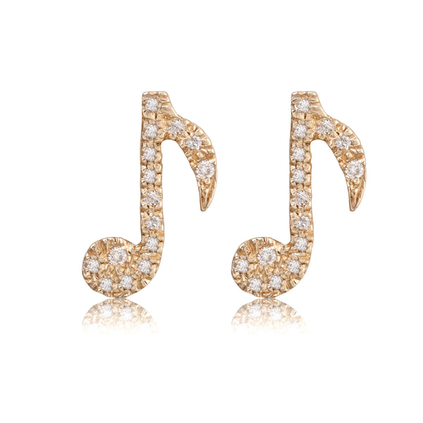 Diamond Music Note Studs - Bianca Pratt Jewelry