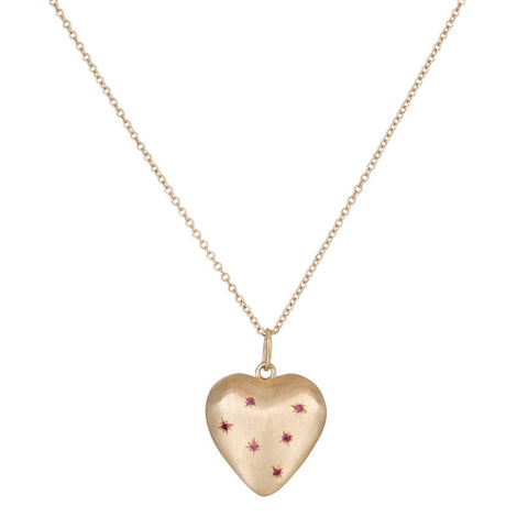 Ruby Puffed Heart Necklace - Bianca Pratt Jewelry