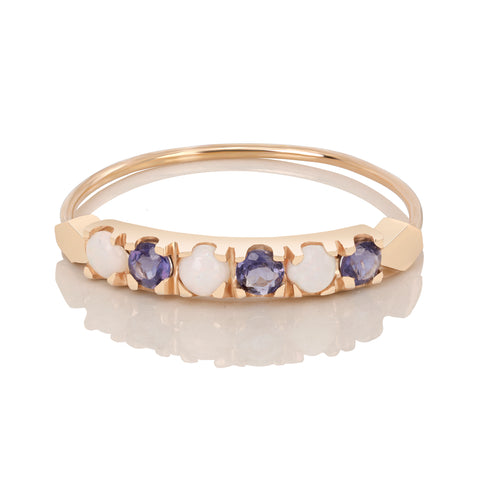 Blue Iolite and Opal Stack Ring - Bianca Pratt Jewelry
