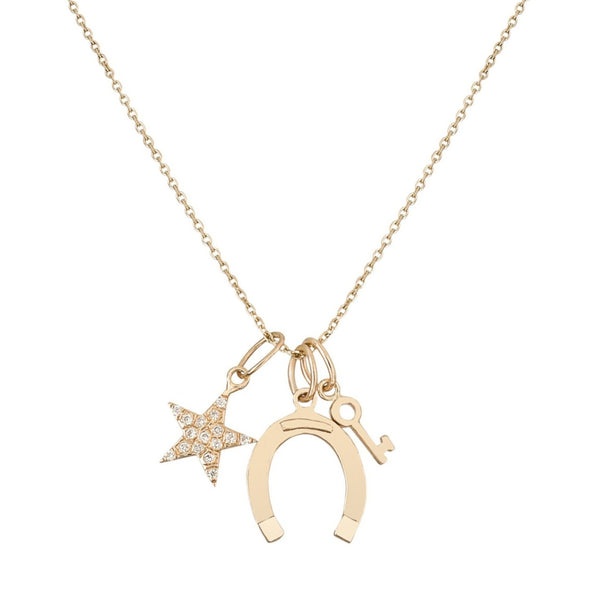 Diamond Star/Horseshoe/Mini Key Necklace - Bianca Pratt Jewelry
