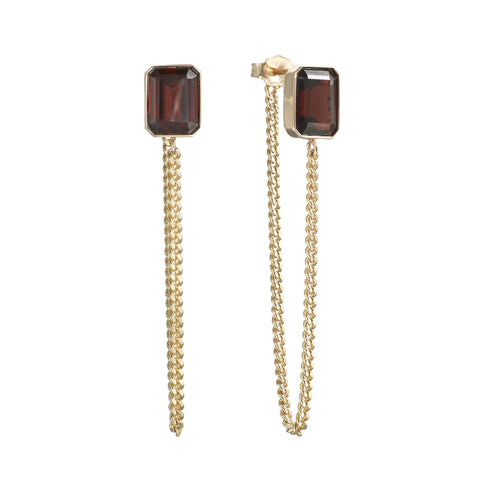 Garnet Chain Earrings - Bianca Pratt Jewelry