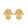 Hamsa Hand Earrings with Diamonds