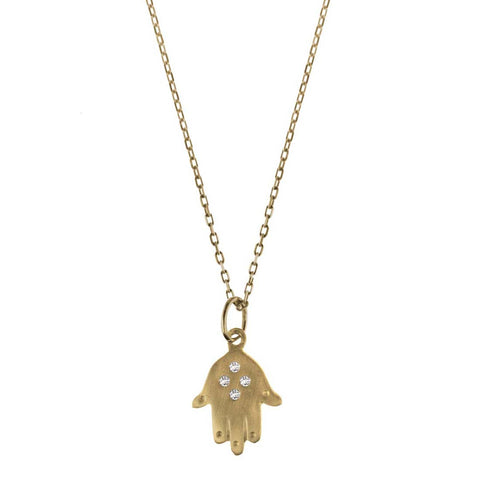 Hamsa Hand Necklace with Diamonds - Bianca Pratt Jewelry