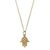 10K Y/G Hamsa Hand Necklace with Diamonds