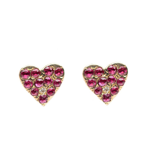 Ruby Heart Studs - Bianca Pratt Jewelry