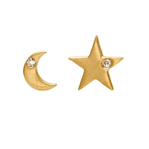 Moon and Star Studs - Bianca Pratt Jewelry