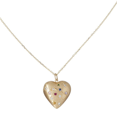 Multi-Colored Puffed Heart Necklace - Bianca Pratt Jewelry
