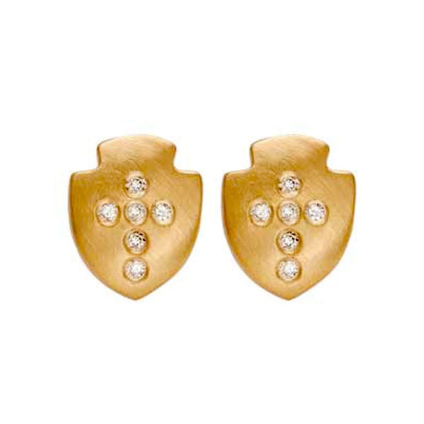 Diamond Shield Studs - Bianca Pratt Jewelry