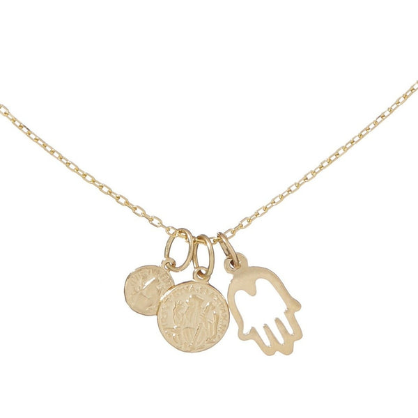Small Coin, Medium Coin & Hollow Hand Necklace