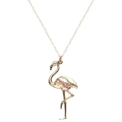 Flamingo Necklace with Diamonds - Bianca Pratt Jewelry